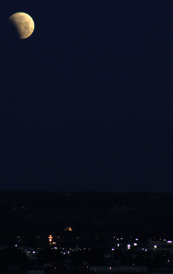 Here's the eclipse overlooking Council Bluffs, Iowa, a suburb of Omaha, Nebraska.