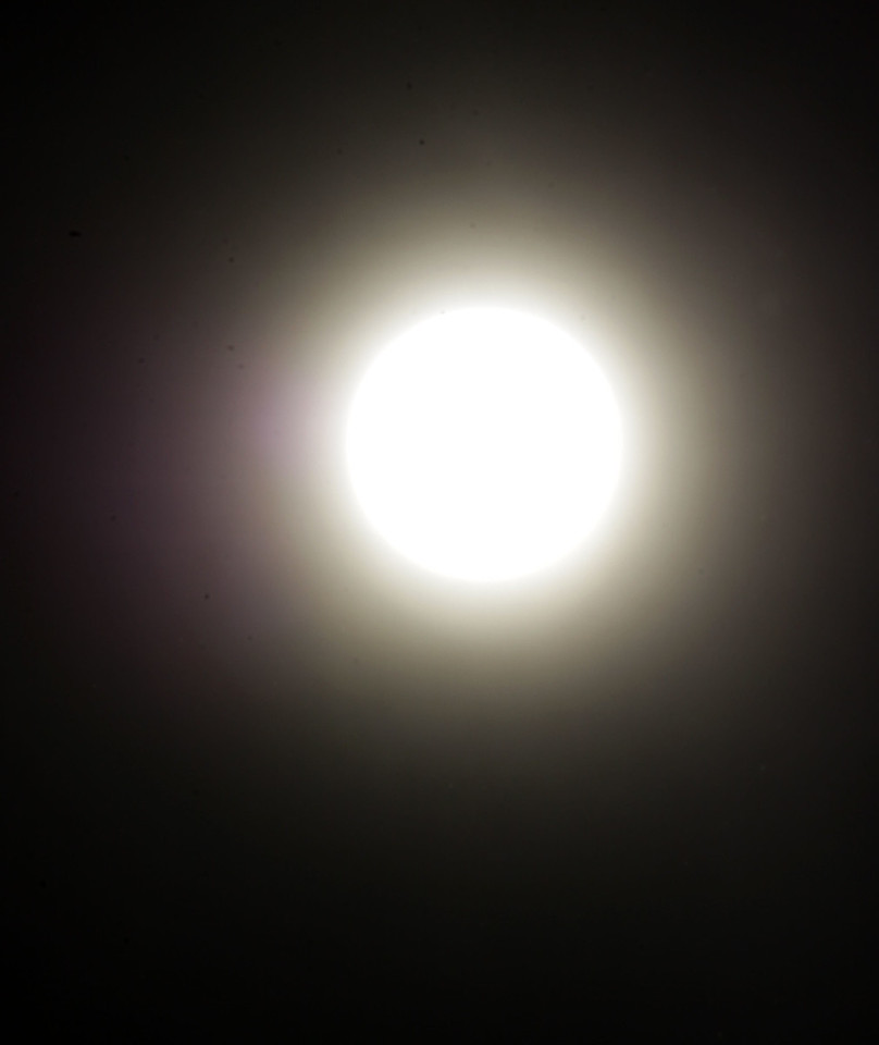 Here's what I saw at 5:30 p.m. My ISO was 100, shutter speed was 8000, and F-stop was 64. It still wasn't dark enough!