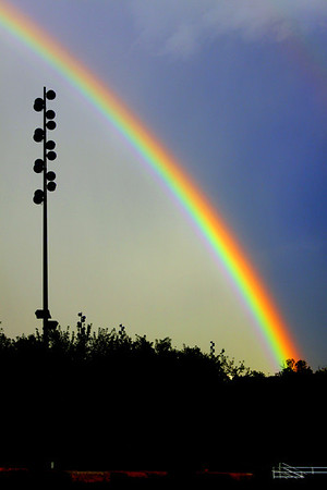 A beautiful rainbow that appeared following the massive storm that gave Omaha its first substantial rainfall in months during the drought of 2012. This was taken at Heartland of America Park outside of ConAgra Foods Headquarters in downtown Omaha, Nebraska.