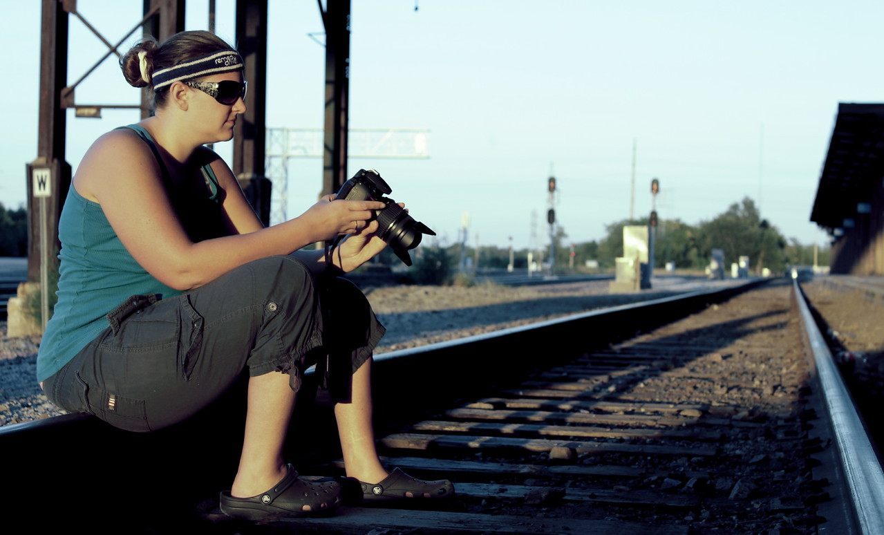 Heidi Brauer posing again on the railroad tracks outside of the old Burlington Northern building in downtown Omaha, Nebraska.