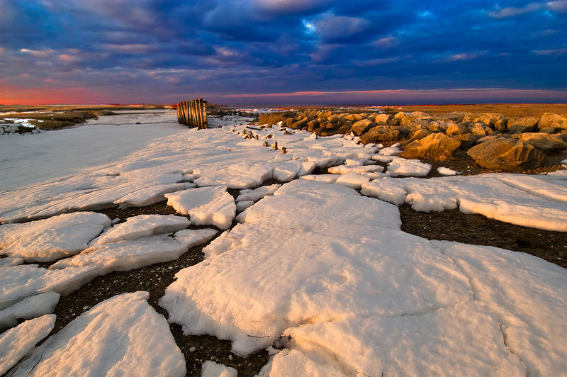 Global Warming - Cape Cod Style<br /> It is incredible how quickly the snow melts on the Cape with a day or two of sunshine. This is one of my favorite spots on the Cape and here I used a Nikon 12-24 mm lens to create an expansive view.