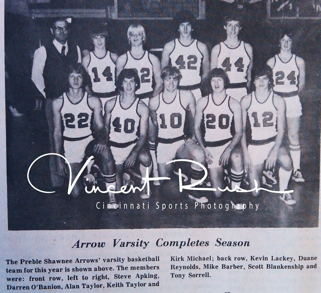 Preble Shawnee Basketball. From the archives of The Preble County News of Camden Ohio in Preble County Ohio. All archived photographs pulled from the Preble County Geneology Center in Eaton, Ohio by Vincent Rush of Cincinnati Sports Photography