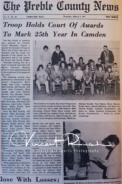 Camden Cub Scouts. From the archives of The Preble County News of Camden Ohio in Preble County Ohio. All archived photographs pulled from the Preble County Geneology Center in Eaton, Ohio by Vincent Rush of Cincinnati Sports Photography