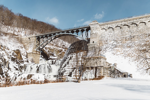 Photography print of New Croton Dam in the winter with Snow.