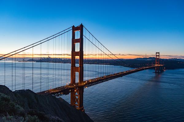 Fine art photography print for sale of the Golden Gate Birdge at Sunrise.