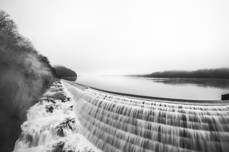 Photography print for sale of the New Croton Dam on a foggy day.