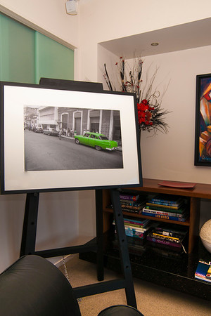 Cuban street scene mono with green car. Print size; 560 x 350mm; frame size; 790 x 580 mm  See image at; http://www.brianscantlebury.com/organize/Travel/Cuba-1/i-VCpDLvX  and check order sizes.