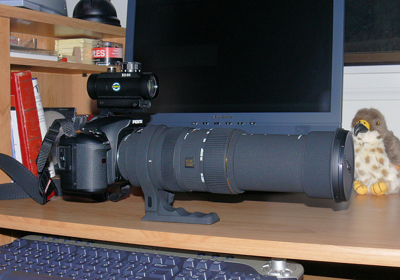 Here's the Bigma extended out to its full 500mm. I also have a Red-Dot sight on the flash hot shoe to aid in tracking flying birds or other moving subjects.