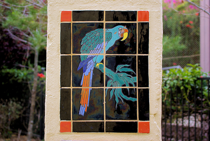 One of the Catalina Tile designs at the entrance to Bird Park, Avalon Canyon.