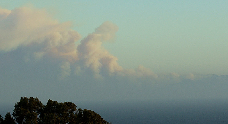 Here's a closer view of the smoke, seen visible from over 100 miles away.