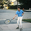 Brandon using tennis as a warm-up