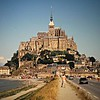 Mont Saint-Michel, France; causeway to the Benedictine abbey/fortress in St. Malo Bay (Bob)