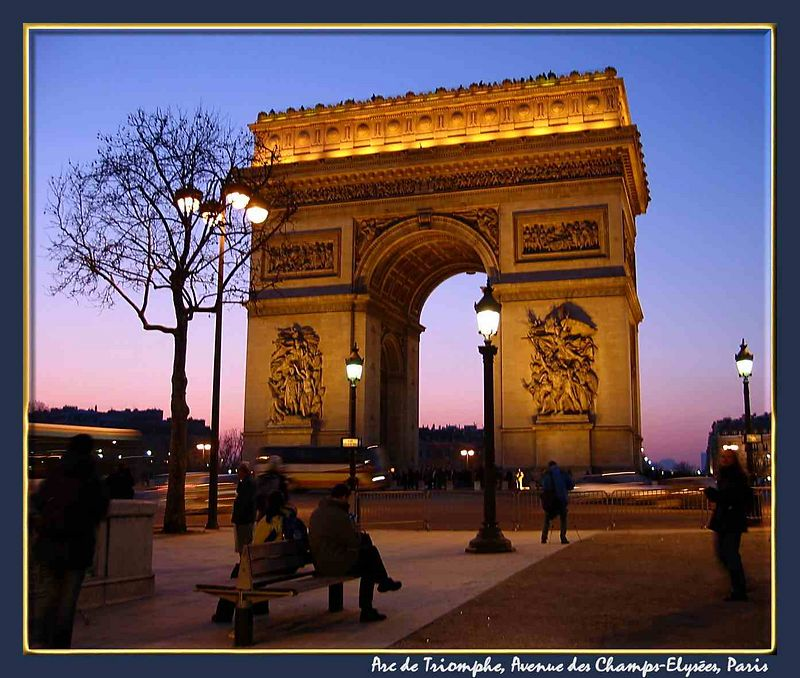 00aFavorite Arc de Triomphe at sundown [bordered and with text]