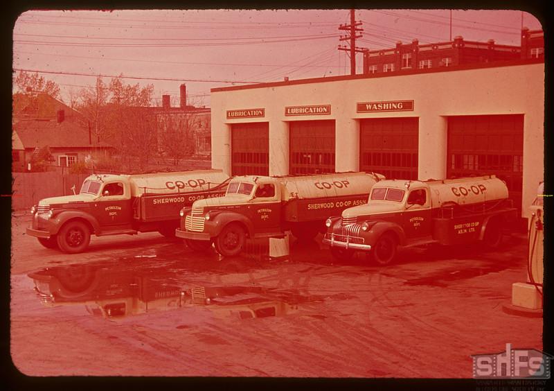 Sherwood co-op oil trucks.  Regina.  10/09/1947