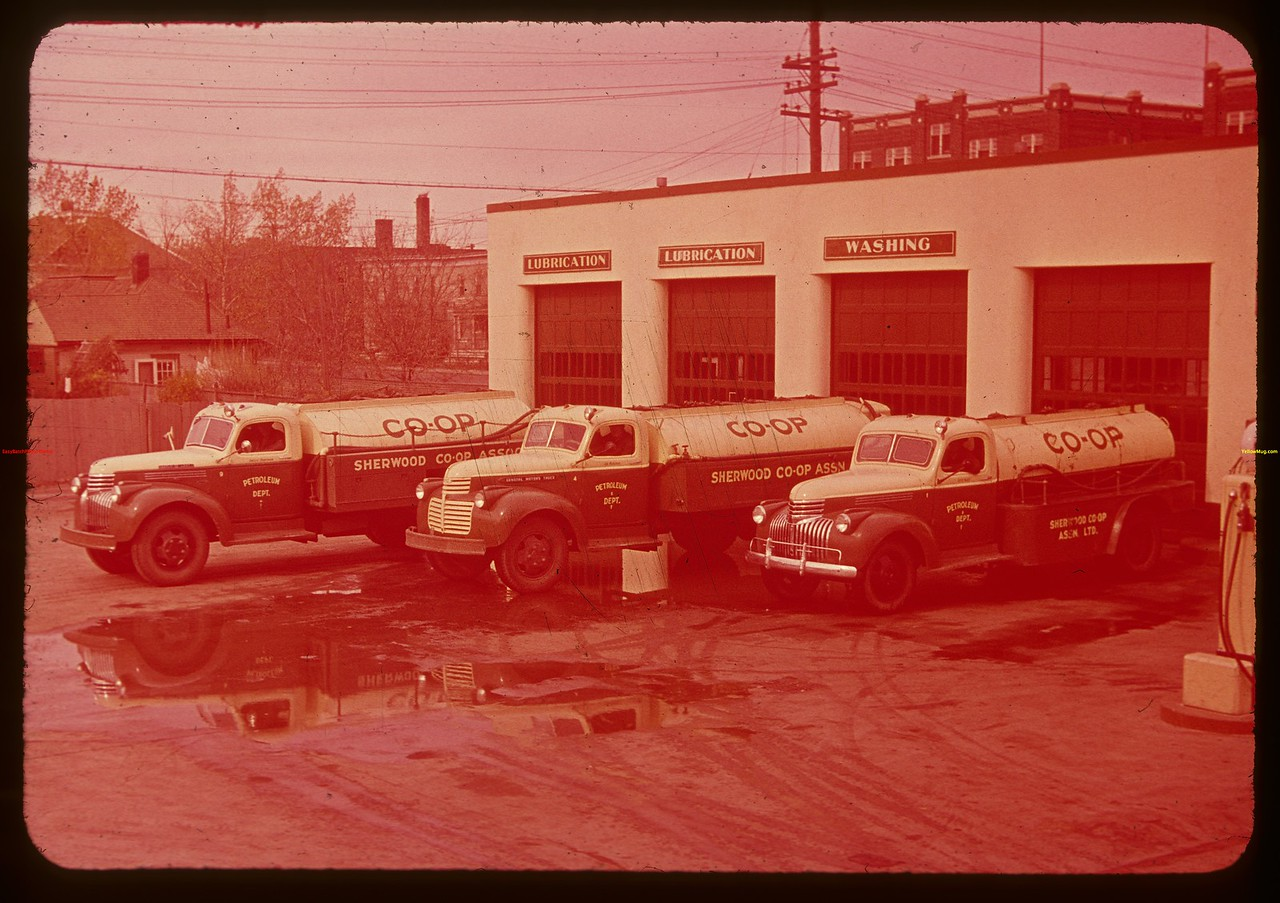 Sherwood co-op oil trucks.  Regina.  10/09/1947