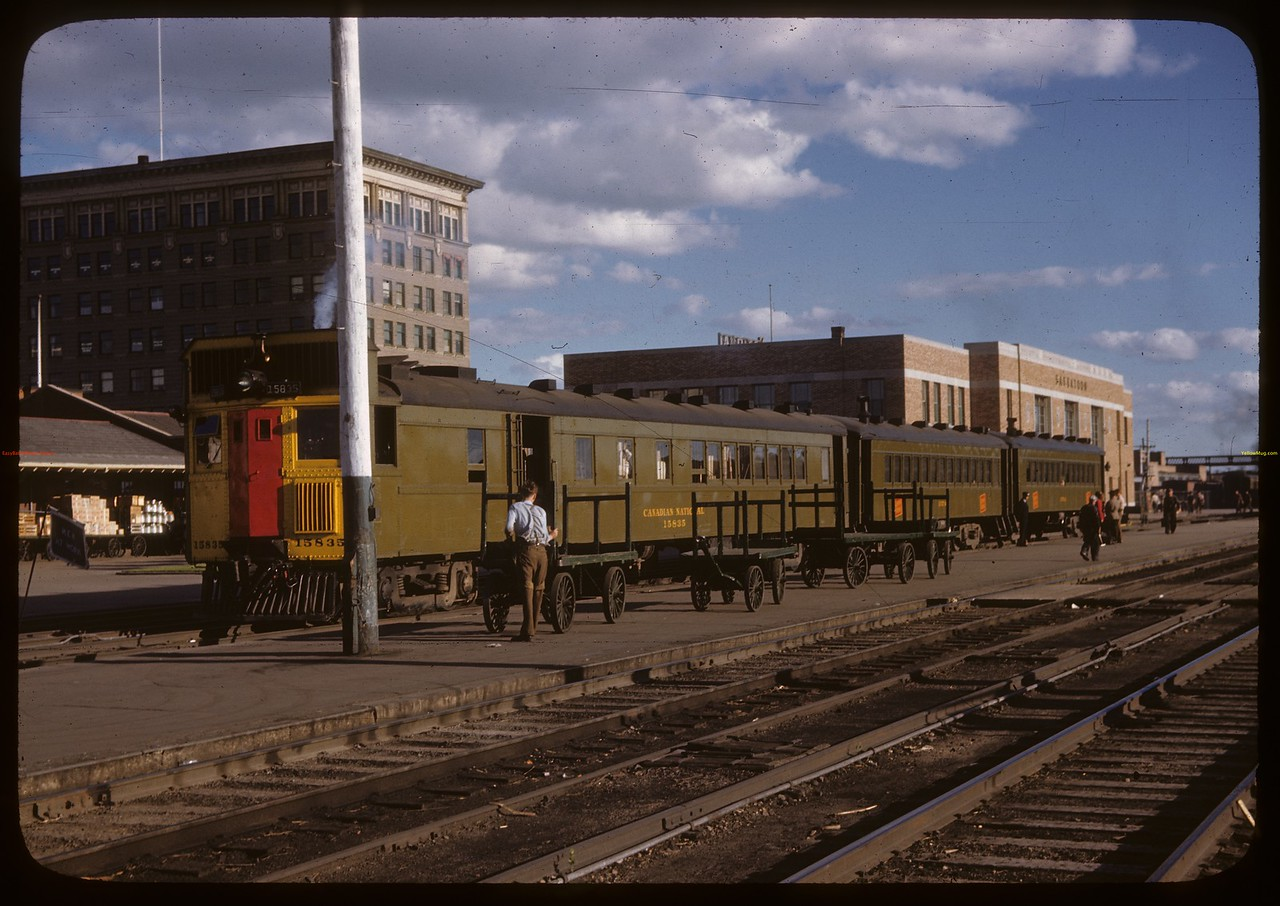 Train taking students to Co-op School in Prince Albert [CNR station]. Saskatoon. 07/10/1946.