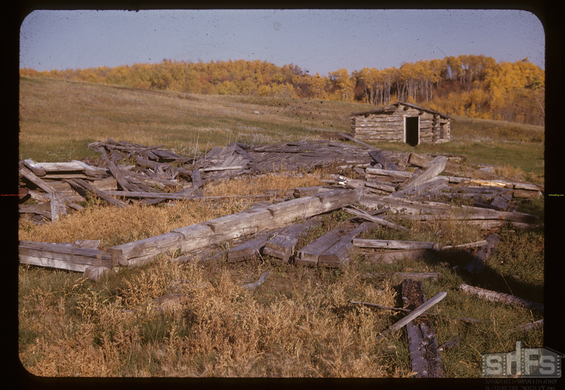 All that's left of old Hudson's Bay warehouse at Fort Pitt. Onion Lake. 10/01/1947
