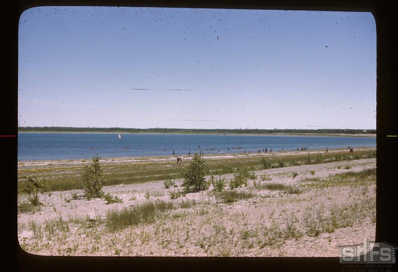 On the beach at Fishing Lake picnic Fishing Lake 07/21/1946