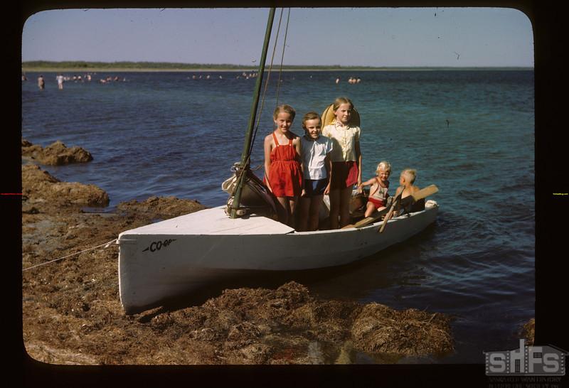 Jr sailing in Co-op boats Fishing Lake 07/21/1946
