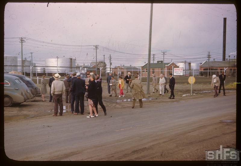 U.S. Co-op tour arriving at Federated Co-op Refineries.  Regina.  08/10/1946