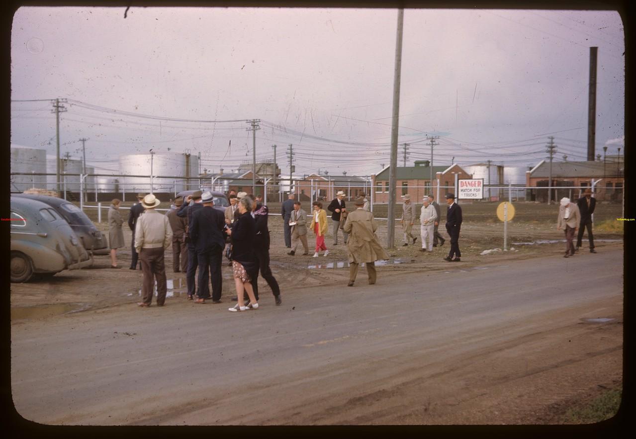 U.S. Co-op tour arriving at Federated Co-op Refineries.  Regina.  08/10/1946