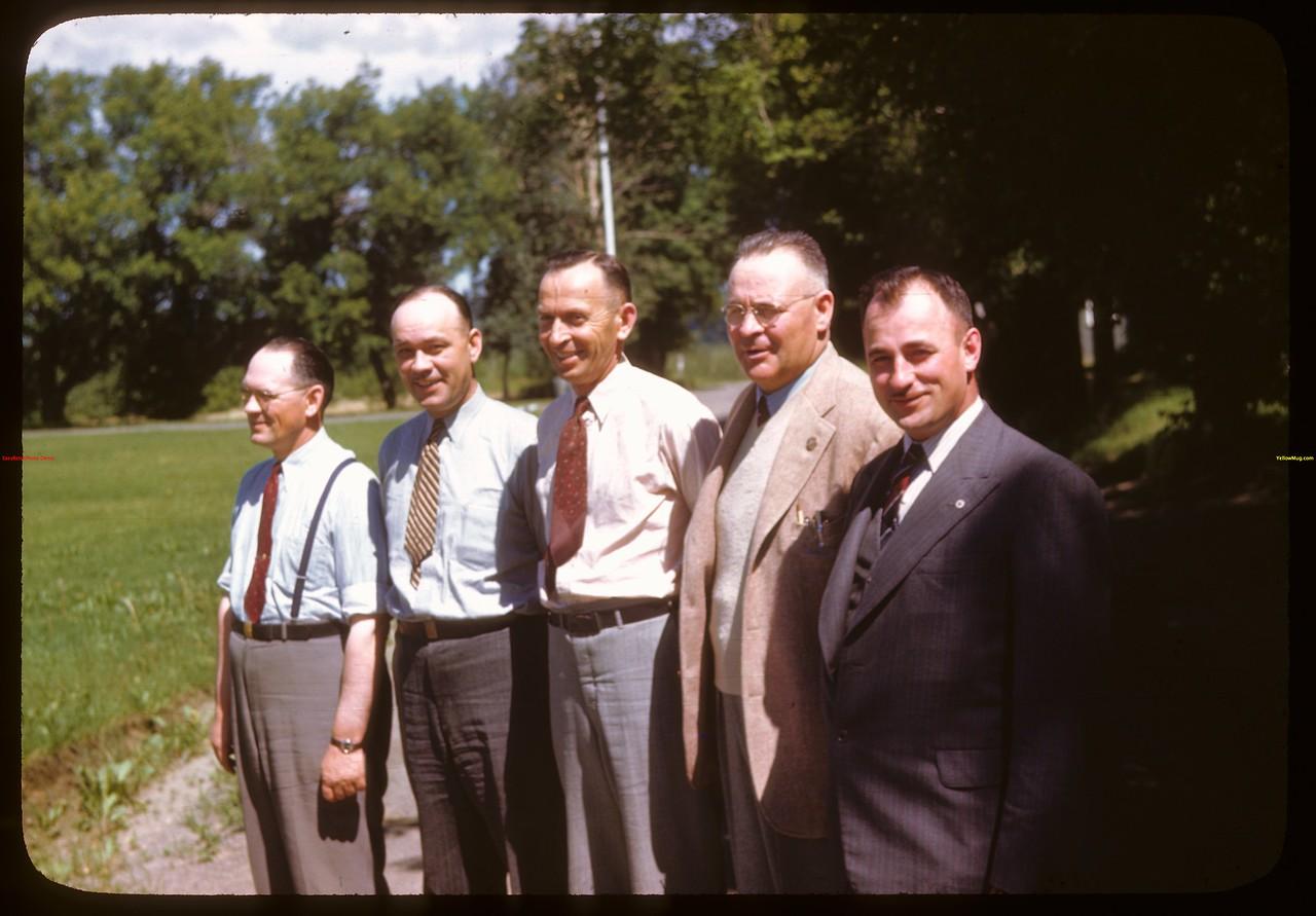 Pool Country organizational staff at PA Co-op school.  Alex Gilliland & Jack Pavelick & John Stratychuk & Les Stutt & Bob Beaulac..  Prince Albert.  07/11/1946