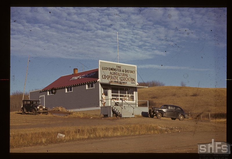 Co-op store and Helen Cook.	Hillmond.  10/24/1940