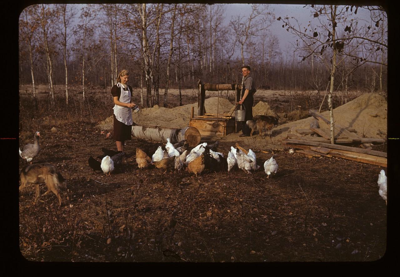 Franz and Hilda John [in their yard]. Macrorie  10/20/1940