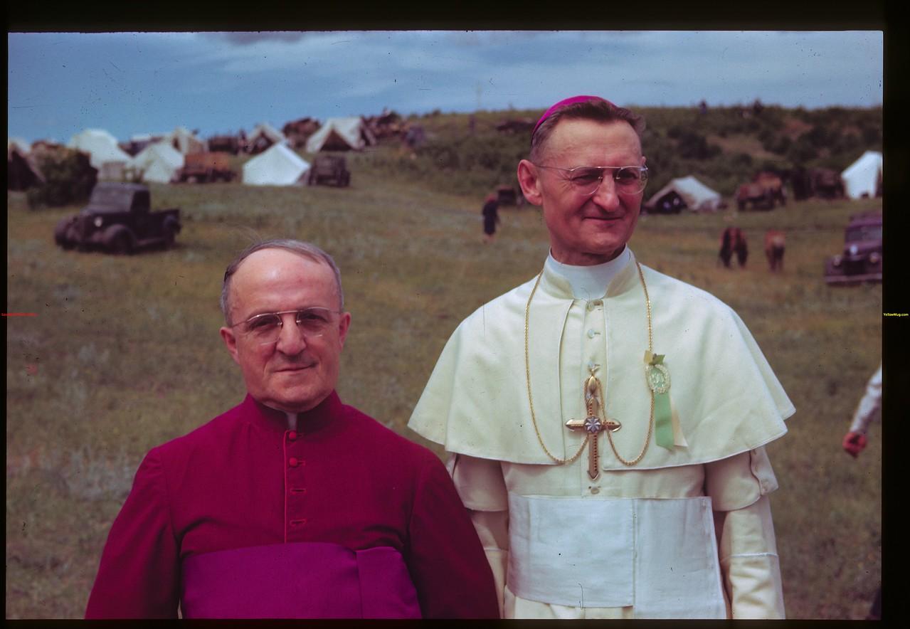 Bishop R. Duprat and assistant Father Demarais. Duck Lake 07/16/1944