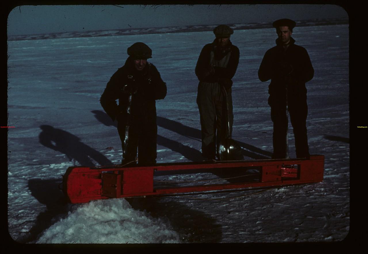 Winter fishing - Jackfish Lake with jigger Meota 01/06/1942