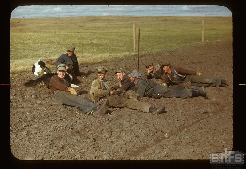 Matador Co-op Farm. Tree planters rest Matador 05/15/1948