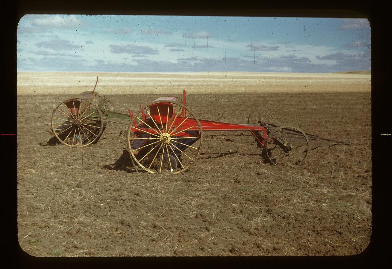 Seeders with tractor hitch. Matador Co-op Farm Matador 05/15/1948
