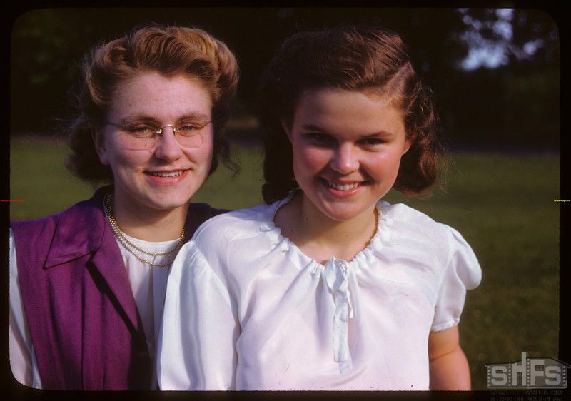 Violet Domier - Norquay and Eileen Cornell - Pelly at PA co-op school..  Prince Albert.  07/12/1946