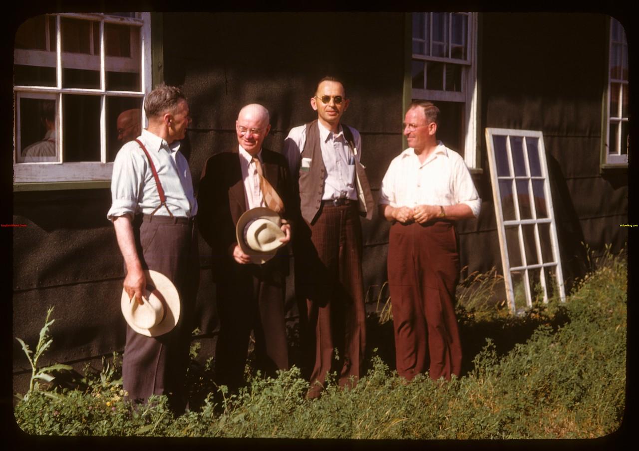 Hon. L. F. McIntosh & Gordon Cook & John Stratychuk at PA co-op school..  Prince Albert.  07/09/1947