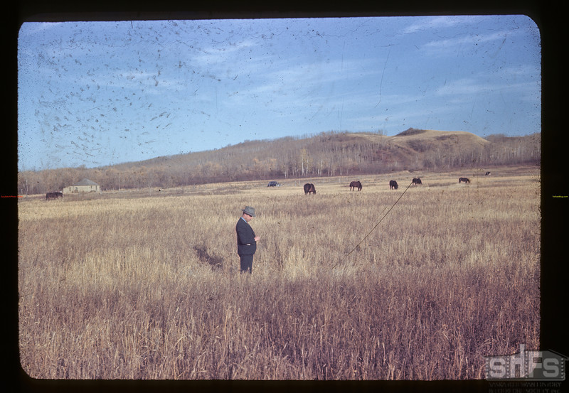 Jack Pavelick viewing supposed site of Old Fort Carleton. Near Carleton ferry	 Fort Carleton	 10/10/1945