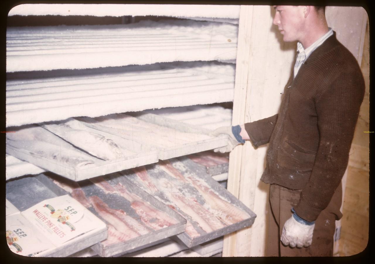 Freezing trays of fillets. Beaver Lake. 06/21/1946