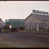 North Battleford Livestock Pool - truck and yards..  North Battleford.  10/07/1946