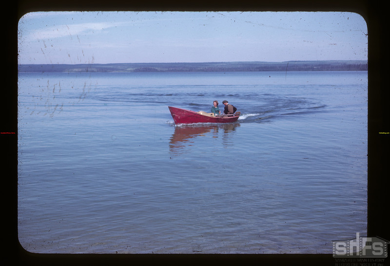 Paul and Katie Wandler on Big Island Lake Goodsoil 08/18/1945