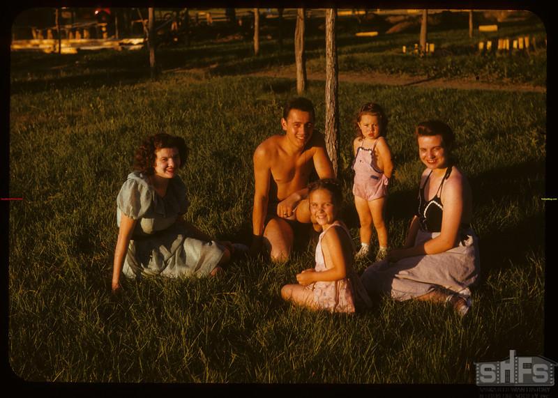 Summer evening swimming party at new swimming pool - Wascana Park.  Regina.  07/14/1947