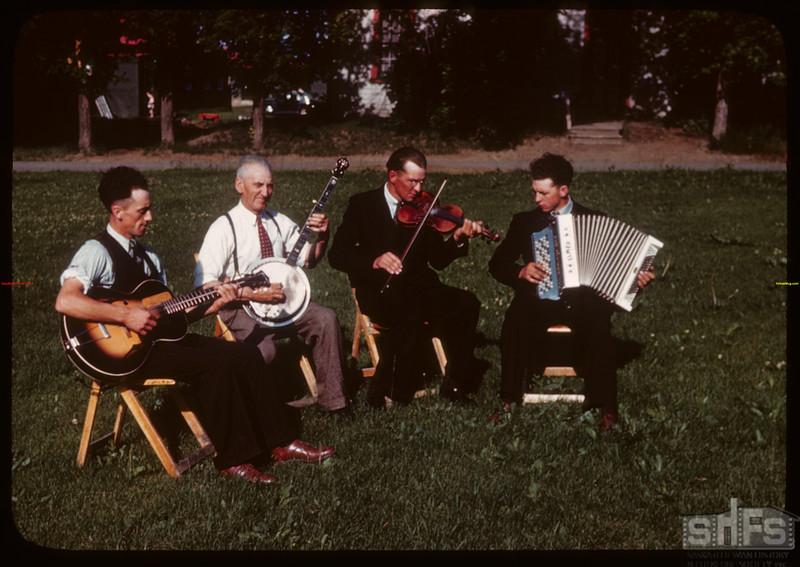 The Hagen Orchestra - PA co-op school broadcast. Clifford Folstad - guitar; Clyde Clidence - banjo; Arnold Olson - violin; Elmer Opseth - accordian..  Prince Albert.  07/12/1946