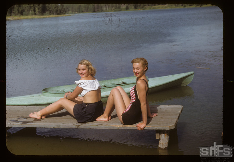 Shirley Forbes and Julaine Klaibert on the dock at Cypress Lake	 Cypress Hills	 08/27/1948
