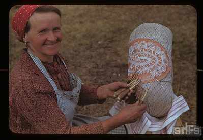 Mrs. Franz Moeckl making lace. Brightsand. 05/08/1943