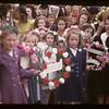 School children presenting wreaths to St. Thressa.  Wakaw.  06/08/1947
