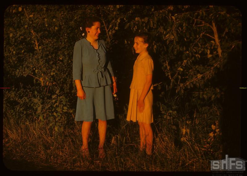 Fay and Doris Douglas of Paswegin at PA co-op school..  Prince Albert.  07/09/1947