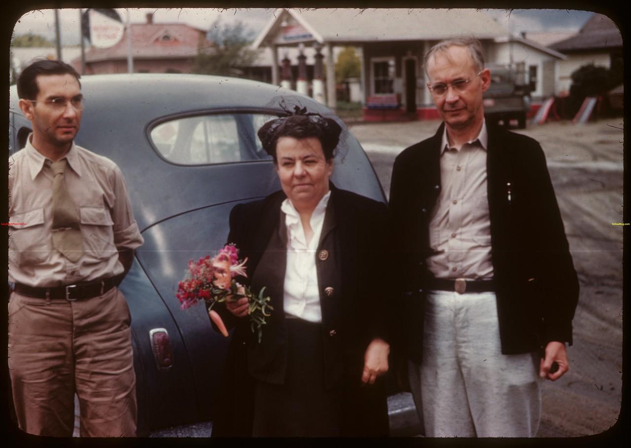 Mr & Mrs C. W. Balon - Robert Neubaum - U. of S. co-op tour. Moosomin 08/08/1946