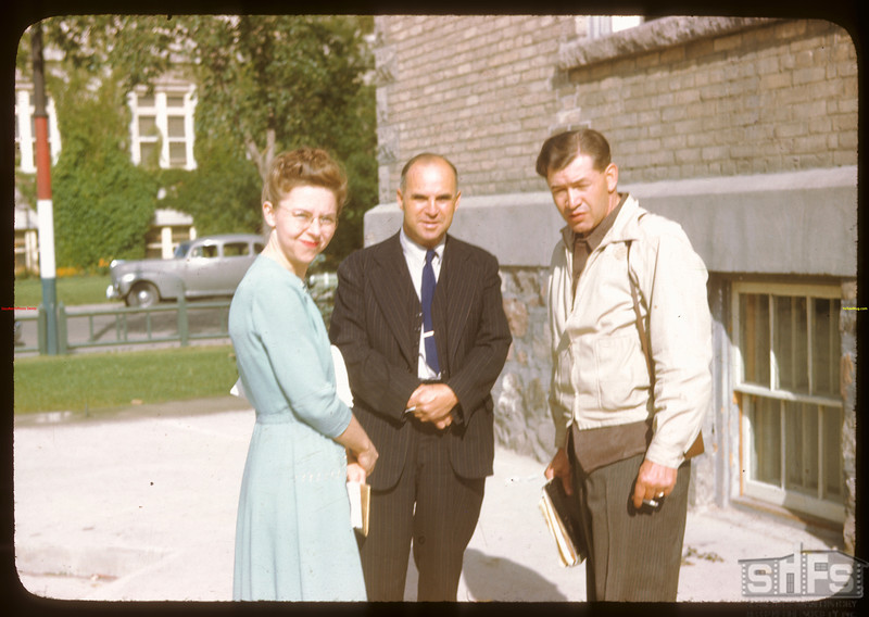Penrose Henry & George Munroe and Glenn  Tompson at the Regina bus depot.  Regina.  08/09/1946