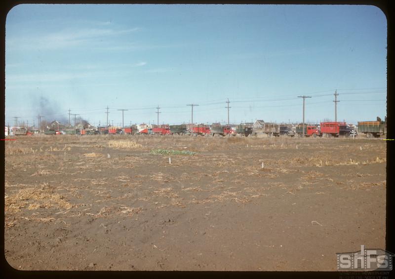 37 trucks waiting at Regina co-op stock yards.  Regina.  10/27/1947