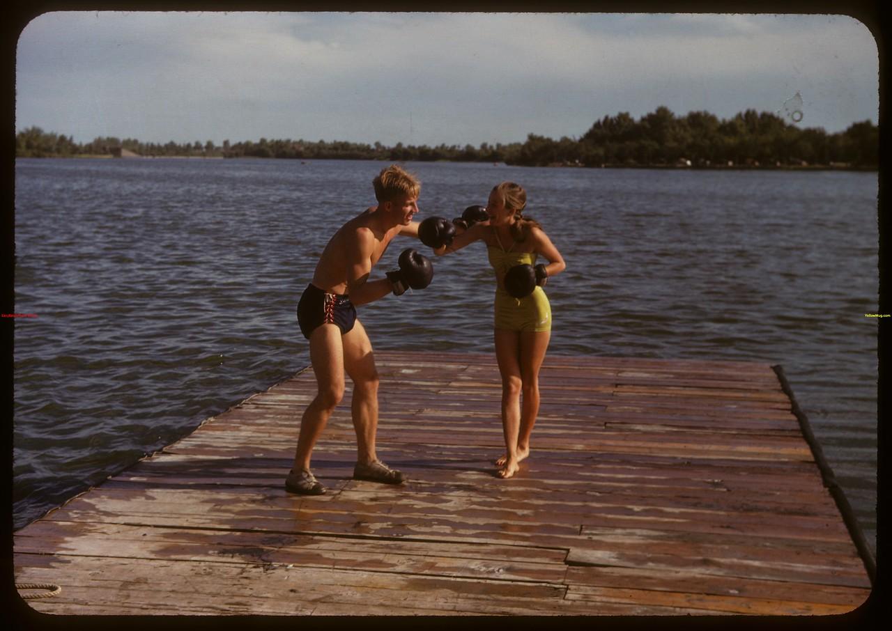 Adele Andrews and Dick McQuaid at the Regina Boat Club.  Regina.  08/03/1947