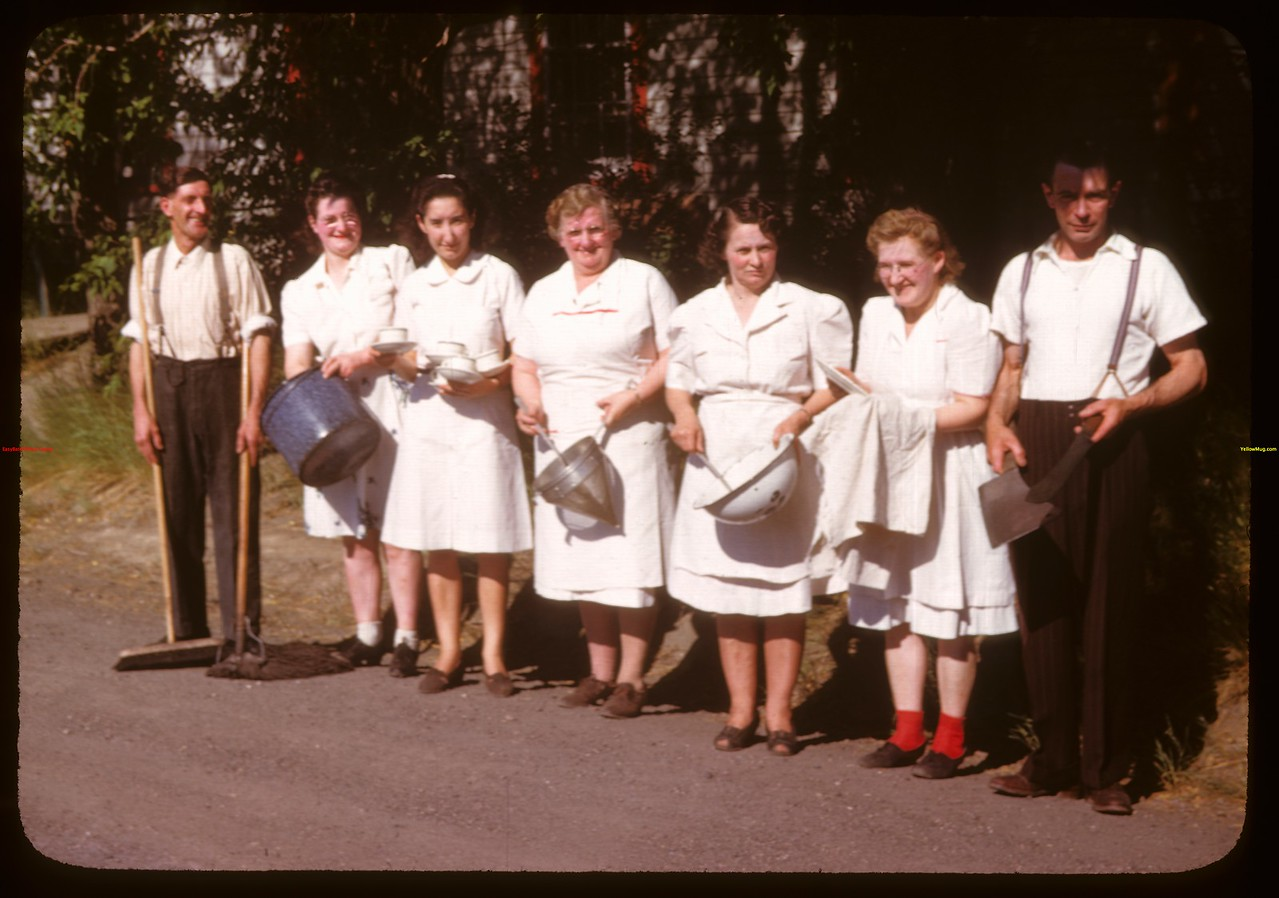 Kitchen gang - co-op school.  Prince Albert.  07/09/1947