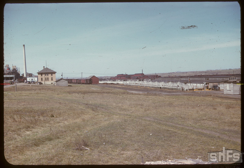 Co-operative stock yards - office at left.	 Moose Jaw	 04/28/1947